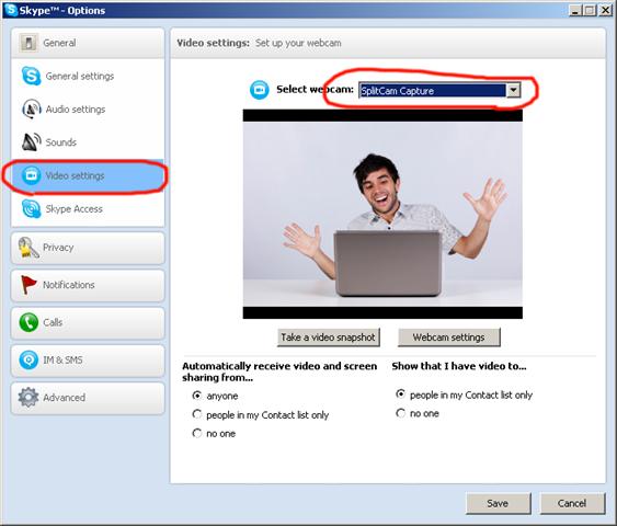 SplitCam in Skype