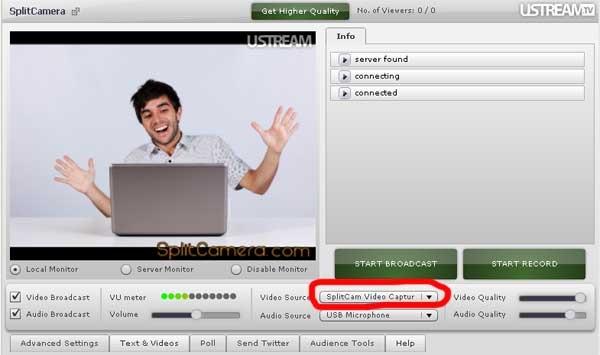 Ustreamtv Select Webcam