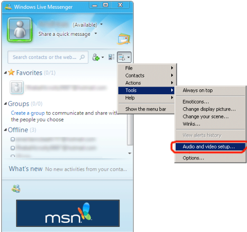 How to connect SplitCam to Windows Live Messenger 2009 (MSN