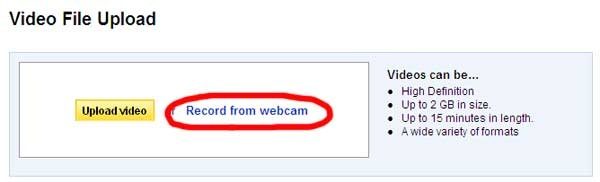 YouTube Record Webcam