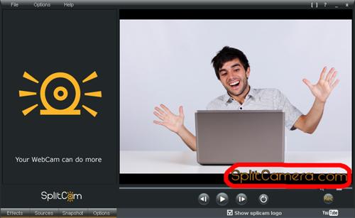 SplitCam Logo Over Video